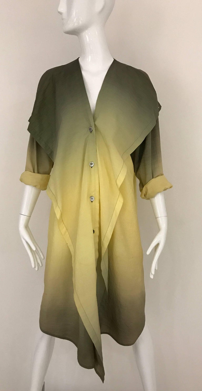 Vintage early 1990s ISSEY MIYAKE green and yellow ombré 2 tones cotton shirt dress. Button in the front.  Size Medium -Large 6/8  *** light water marks stains see image #9#10