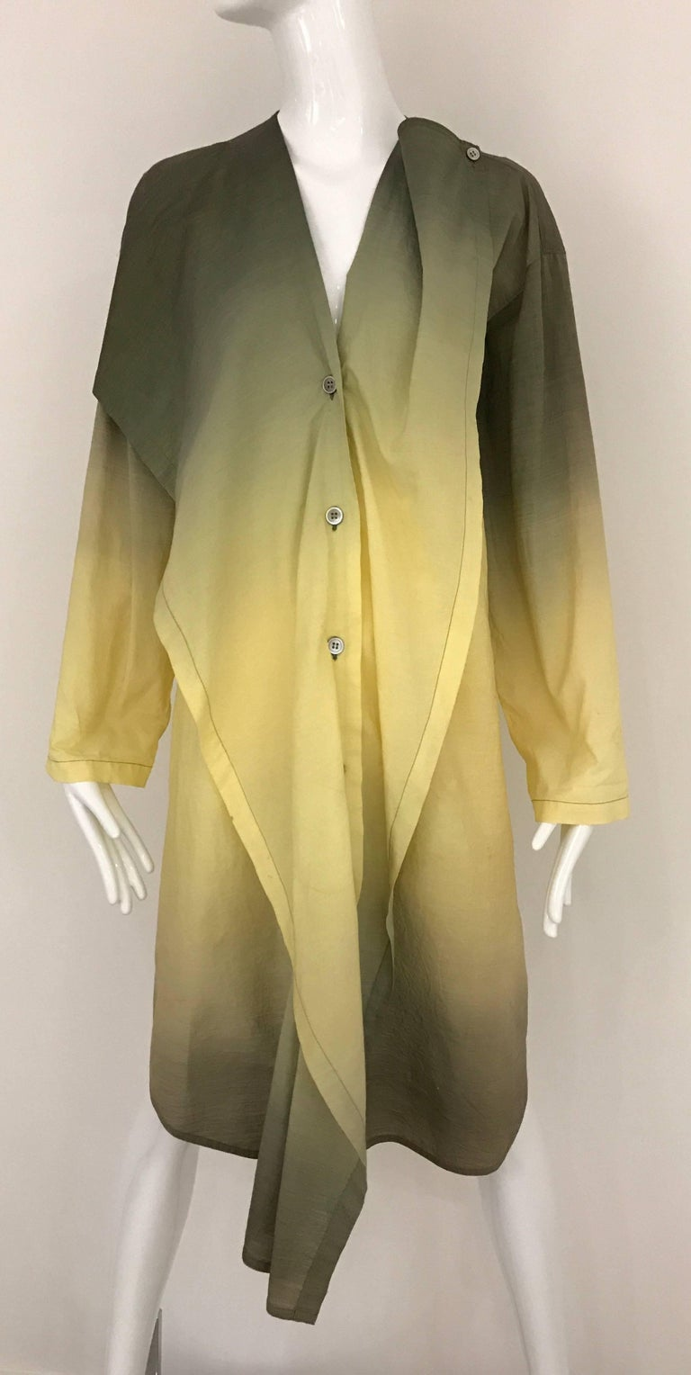 Brown 1990s ISSEY MIYAKE Green and Yellow Ombré 90s Cotton Vintage Dress For Sale