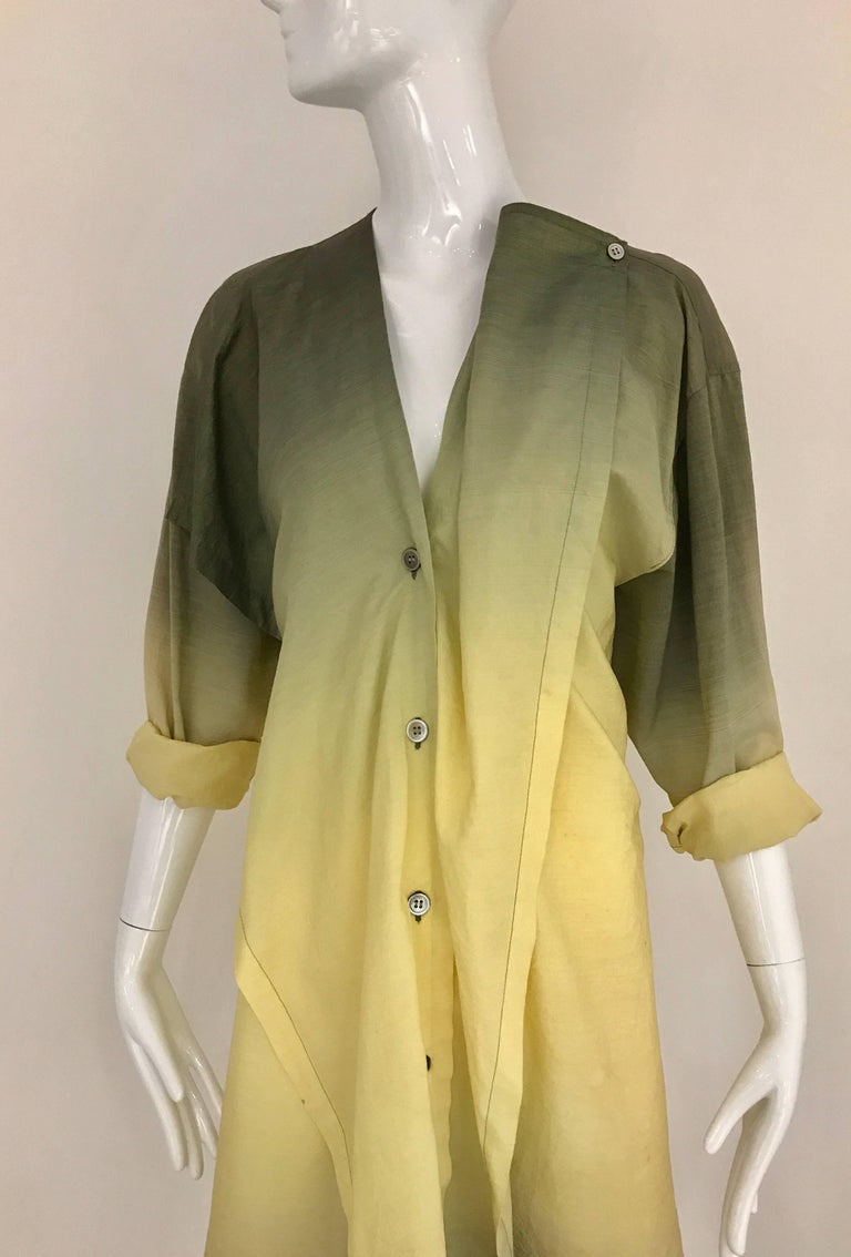 1990s ISSEY MIYAKE Green and Yellow Ombré 90s Cotton Vintage Dress For Sale 5
