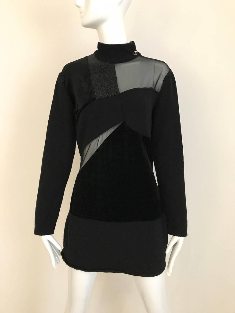 1980s Gianfranco Ferre Black Velour Sheer Long Sleeve mini knit sweater  dress or Top.  Size: Medium   Bust : 36  stretch up to 40