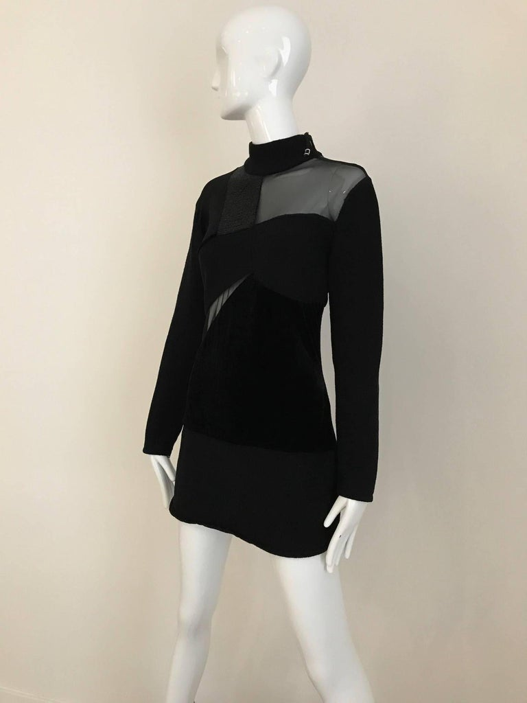 Vintage Gianfranco Ferre Black Velour Sheer  Long Sleeve Mini Sweater 80s dress In Excellent Condition For Sale In Beverly Hills, CA