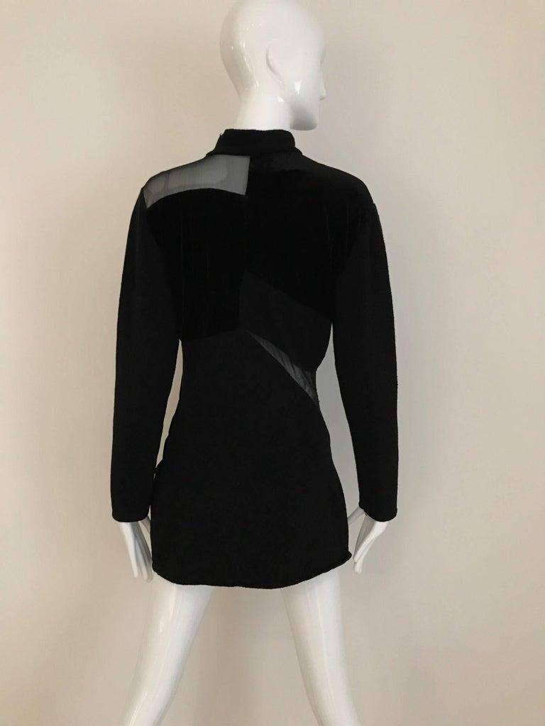 Women's Vintage Gianfranco Ferre Black Velour Sheer  Long Sleeve Mini Sweater 80s dress For Sale
