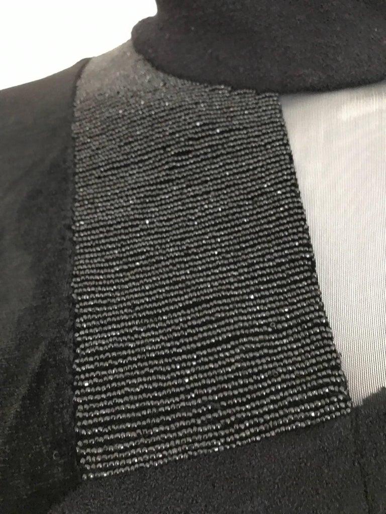 Vintage Gianfranco Ferre Black Velour Sheer  Long Sleeve Mini Sweater 80s dress For Sale 1
