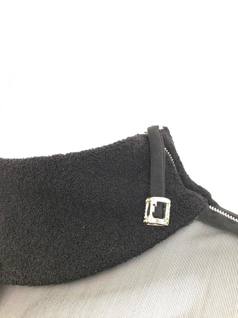 Vintage Gianfranco Ferre Black Velour Sheer  Long Sleeve Mini Sweater 80s dress For Sale 3