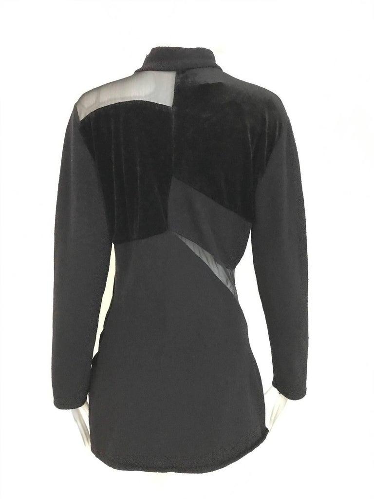 Vintage Gianfranco Ferre Black Velour Sheer  Long Sleeve Mini Sweater 80s dress For Sale 4