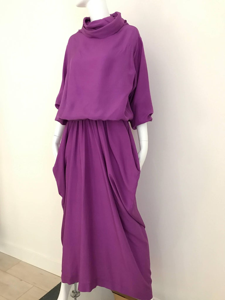 Vintage Max Mara Purple oversized silk blouse with skirt set. Blouse fit size 4/6/8   Blouse: 44 inch / skit has 27 inch waist Skirt length:  front 37 inch/  Back 44