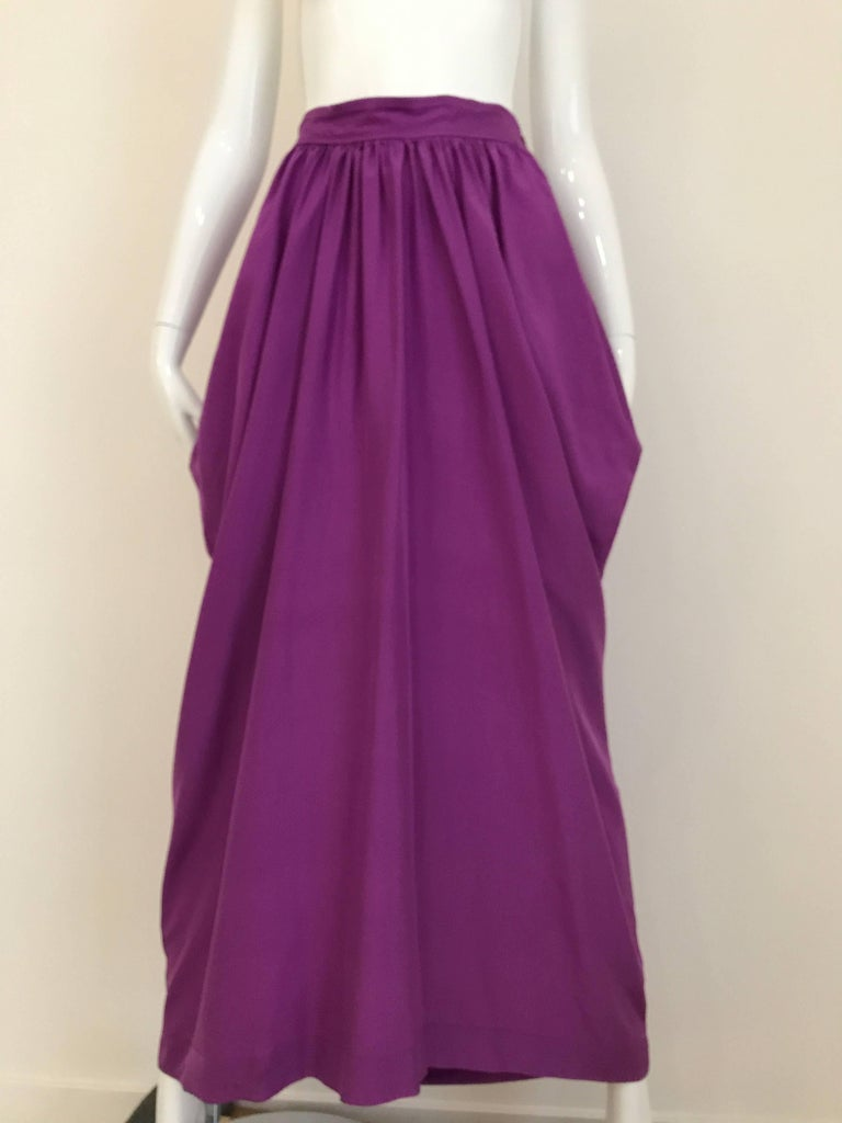 Purple 1990s MAX MARA Violet Silk Blouse and Skirt Ensemble For Sale
