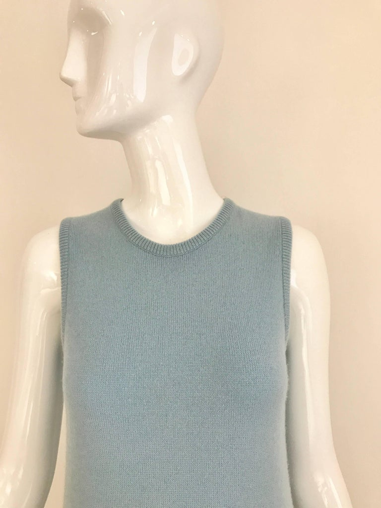 1970s Halston Baby Blue Sleeveless Cashmere Vintage Sweater 70s Dress For Sale At 1stdibs