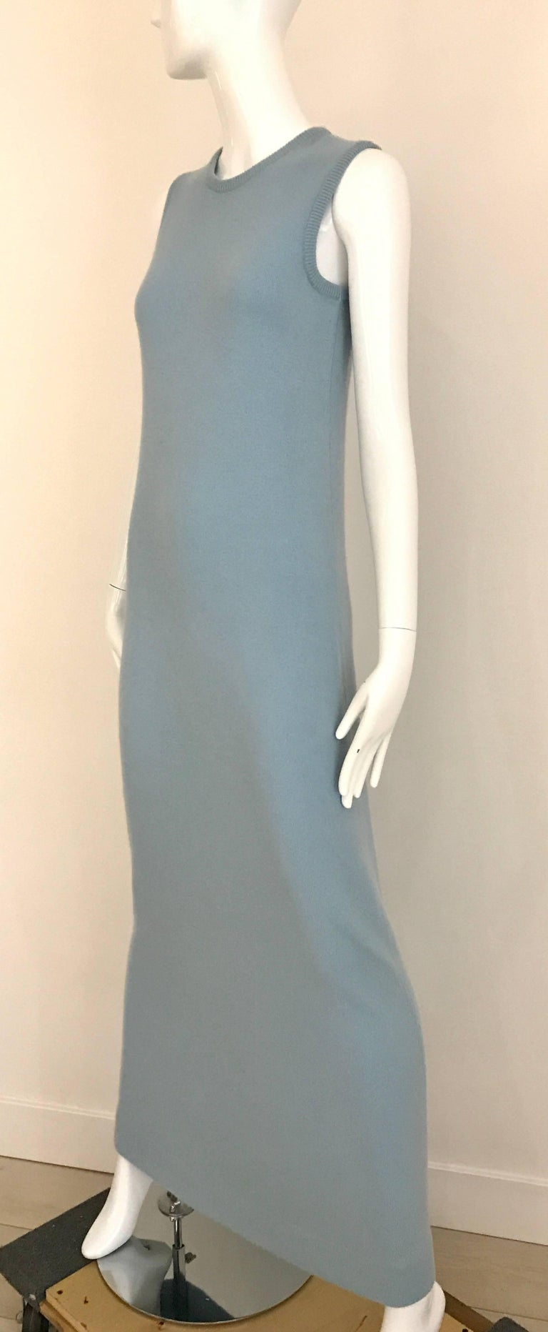 1970s HALSTON Baby Blue Sleeveless Cashmere Vintage Sweater 70s Dress For Sale 1
