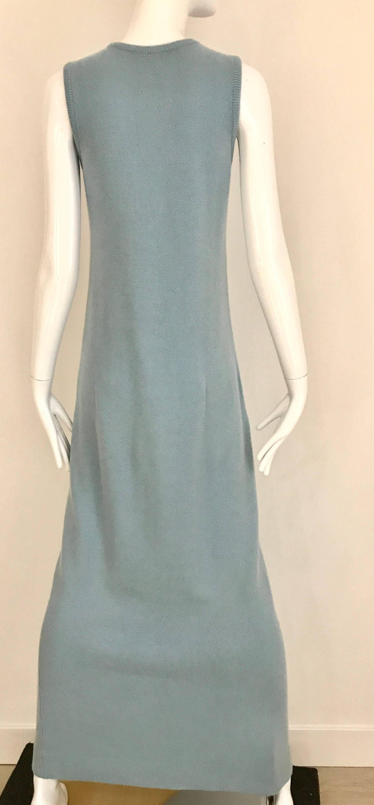 1970s HALSTON Baby Blue Sleeveless Cashmere Vintage Sweater 70s Dress For Sale 2