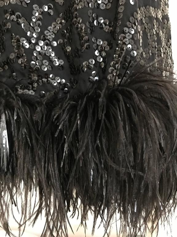 Women's Vintage 1960s BILL BLASS Black V Neck Sequin Gown with Ostrich Feathers For Sale