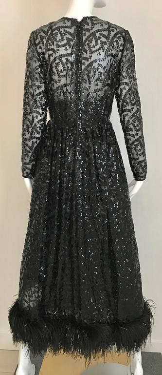 Vintage 1960s BILL BLASS Black V Neck Sequin Gown with Ostrich Feathers For Sale 2