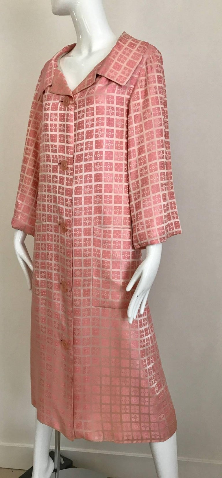 Women's 1970s CHRISTIAN DIOR Pink Mosaic Checkered Print Silk jacquared Coat For Sale