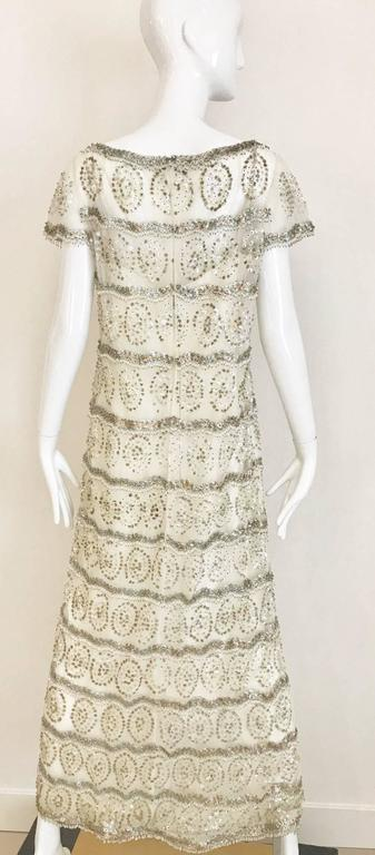 1960s MALCOLM STARR  White Mesh Embellished Beaded Maxi Shift 60s Dress In Excellent Condition For Sale In Beverly Hills, CA