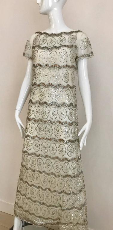 Women's 1960s MALCOLM STARR  White Mesh Embellished Beaded Maxi Shift 60s Dress For Sale