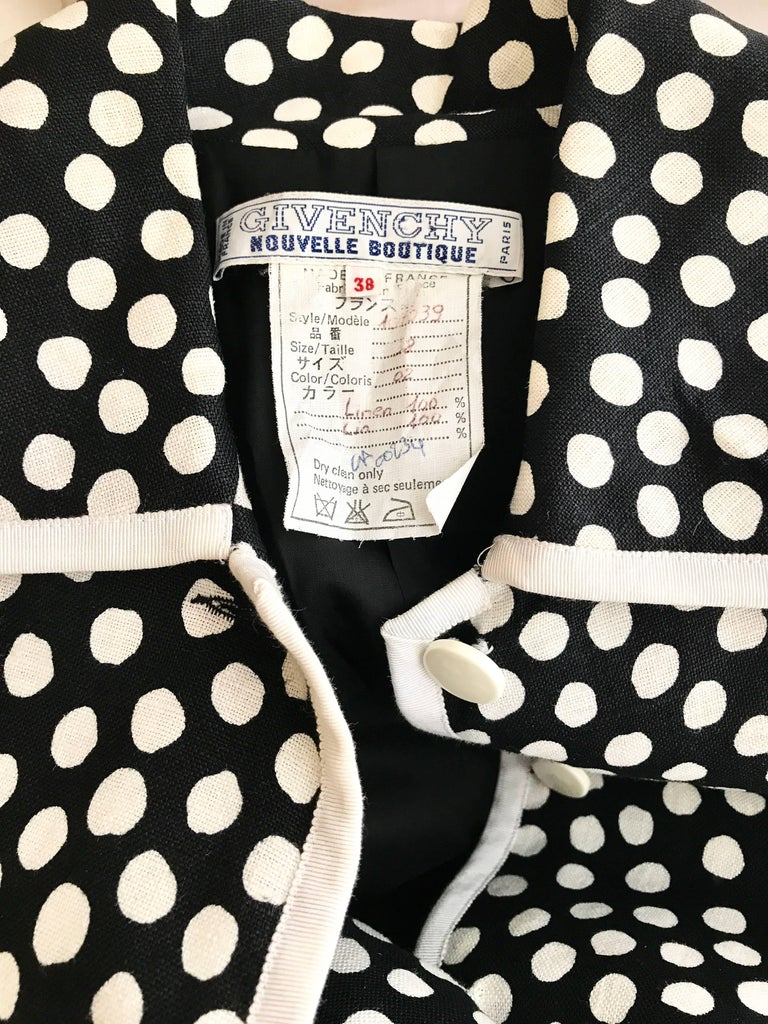Women's 1970s GIVENCHY Black and White Dot Linen Coat Dress For Sale