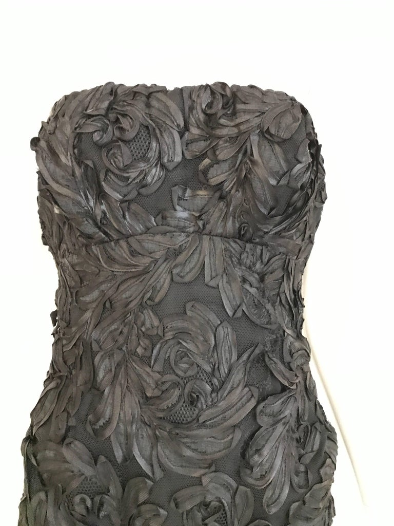 1960s Black  Soutache Strapless  Dress with Cropped Jacket lined in Mink In Good Condition For Sale In Beverly Hills, CA