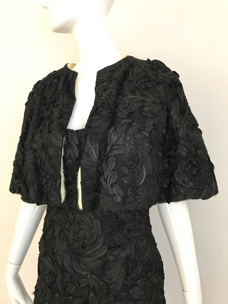 Women's 1960s Black  Soutache Strapless  Dress with Cropped Jacket lined in Mink For Sale