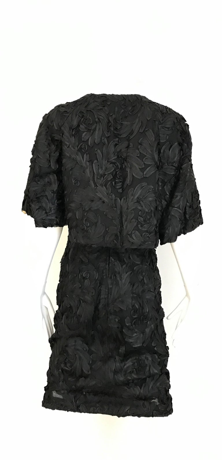 1960s Black  Soutache Strapless  Dress with Cropped Jacket lined in Mink For Sale 1