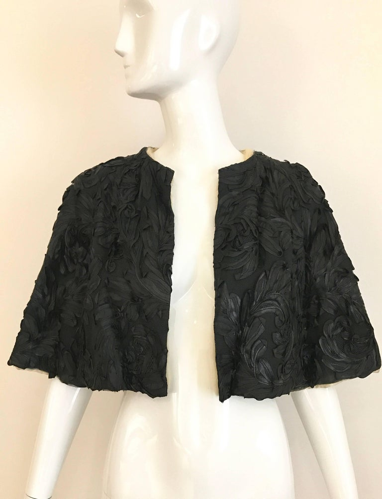 1960s Black  Soutache Strapless  Dress with Cropped Jacket lined in Mink For Sale 2