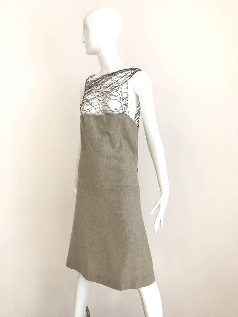 Narciso Rodriguez Grey Cashmere Lattice Cut Out Dress For Sale 1