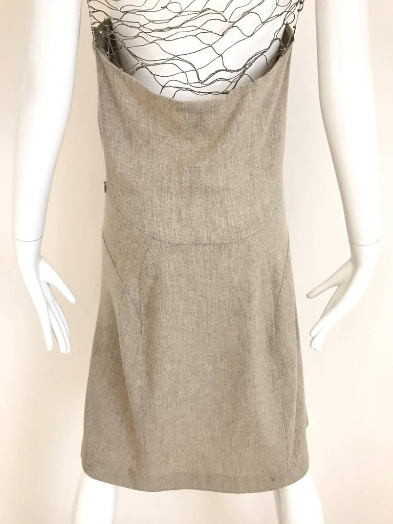 Narciso Rodriguez Grey Cashmere Lattice Cut Out Dress For Sale 2