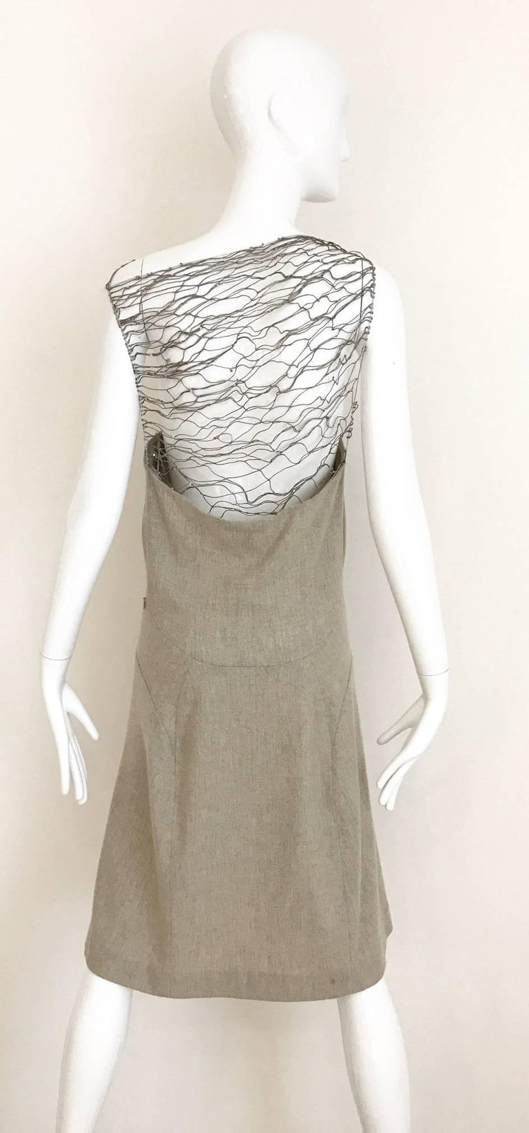 Brown Narciso Rodriguez Grey Cashmere Lattice Cut Out Dress For Sale