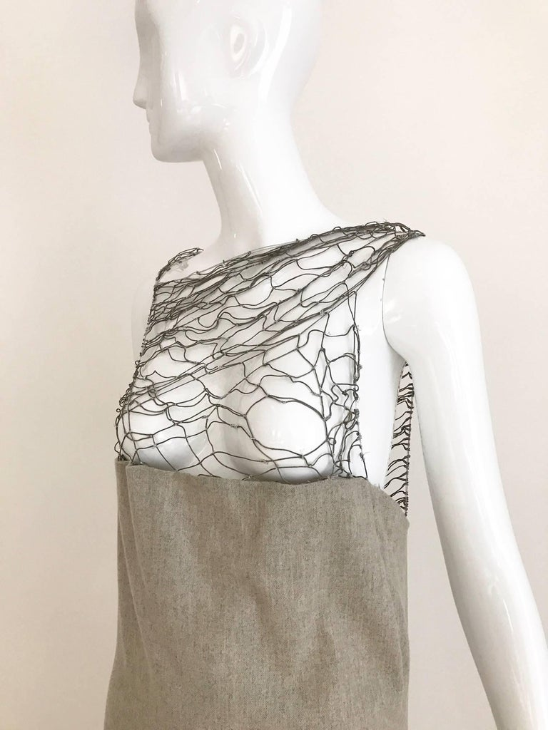 Women's Narciso Rodriguez Grey Cashmere Lattice Cut Out Dress For Sale