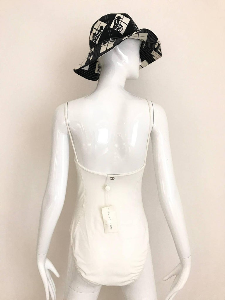 Vintage Paco Rabanne White Lattice One Piece Swim Suit In Excellent Condition For Sale In Beverly Hills, CA