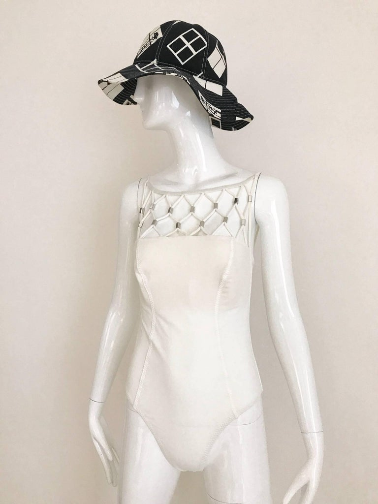 Gray Vintage Paco Rabanne White Lattice One Piece Swim Suit For Sale