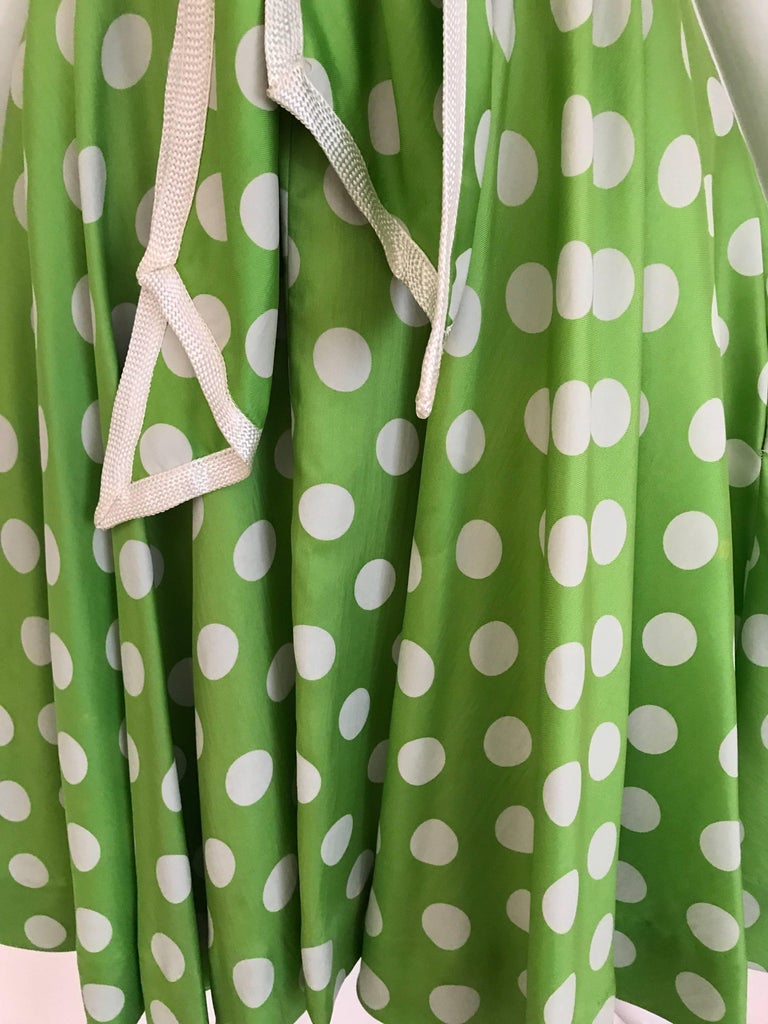 1960s TEAL TRAINA Lime Green and White Polka Dot Sleeveless Dress with Scarf For Sale 2