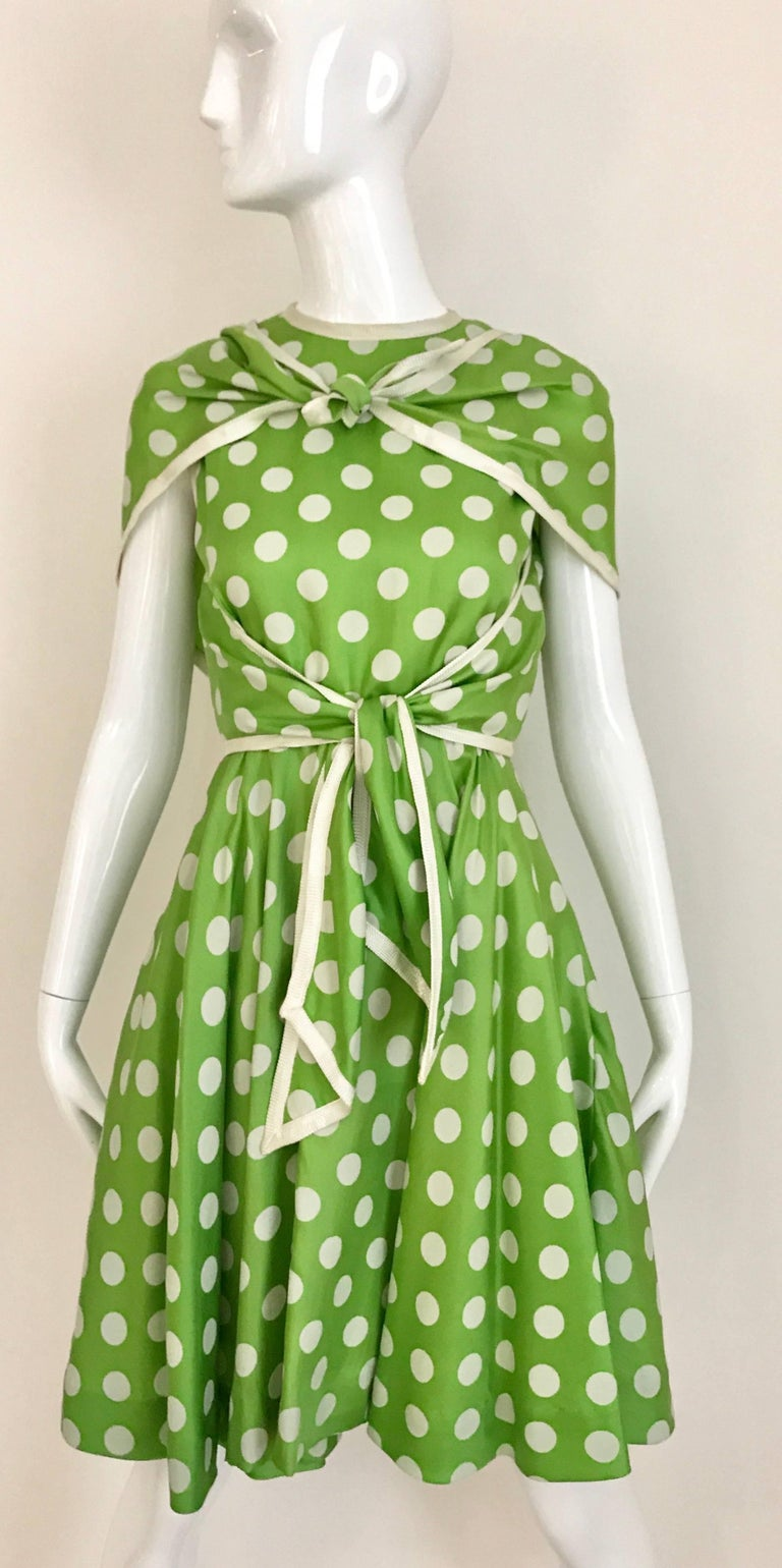1960s TEAL TRAINA Lime Green and White Polka Dot Sleeveless Dress with Scarf In Good Condition For Sale In Beverly Hills, CA