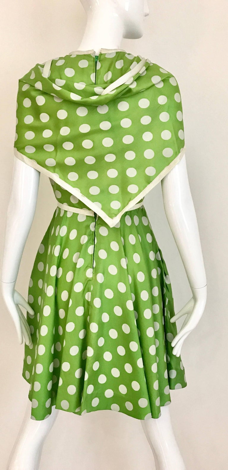 Women's 1960s TEAL TRAINA Lime Green and White Polka Dot Sleeveless Dress with Scarf For Sale