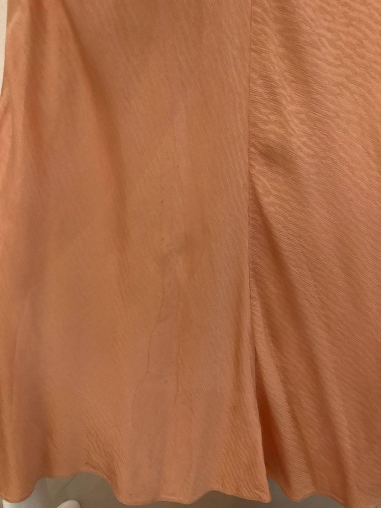 1930s Peach Silk Bias Cut Dress with Shawl Capelet  For Sale 1