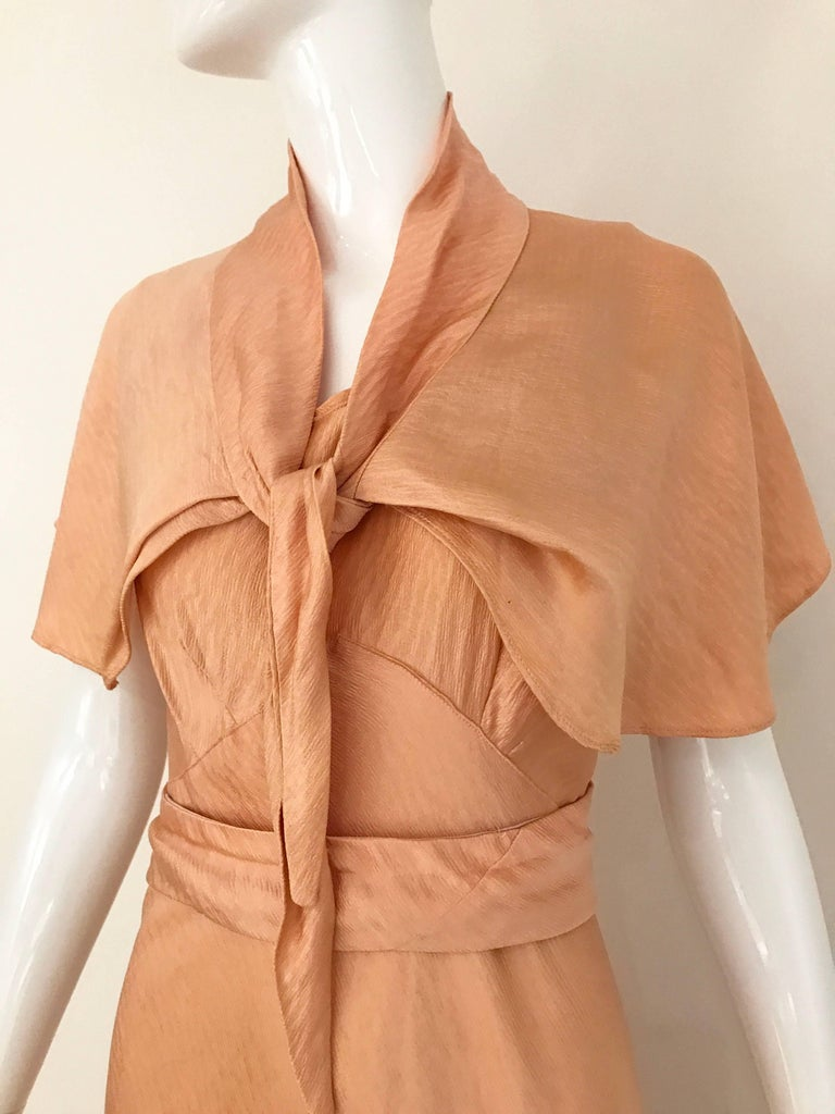 Orange 1930s Peach Silk Bias Cut Dress with Shawl Capelet  For Sale