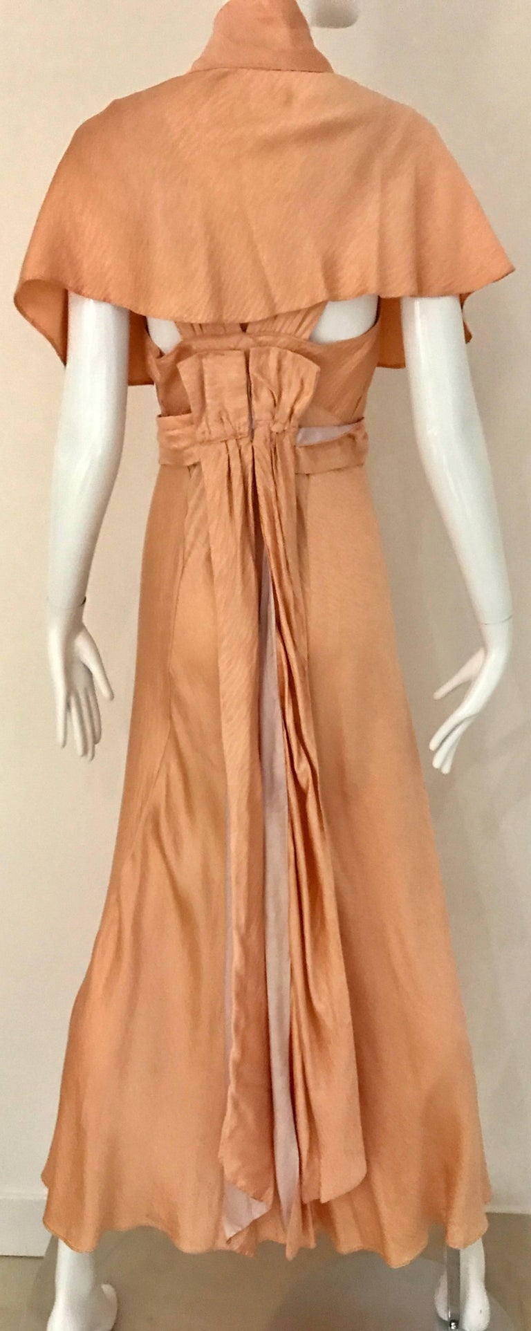 1930s Peach Silk Bias Cut Dress with Shawl Capelet  In Good Condition For Sale In Beverly Hills, CA