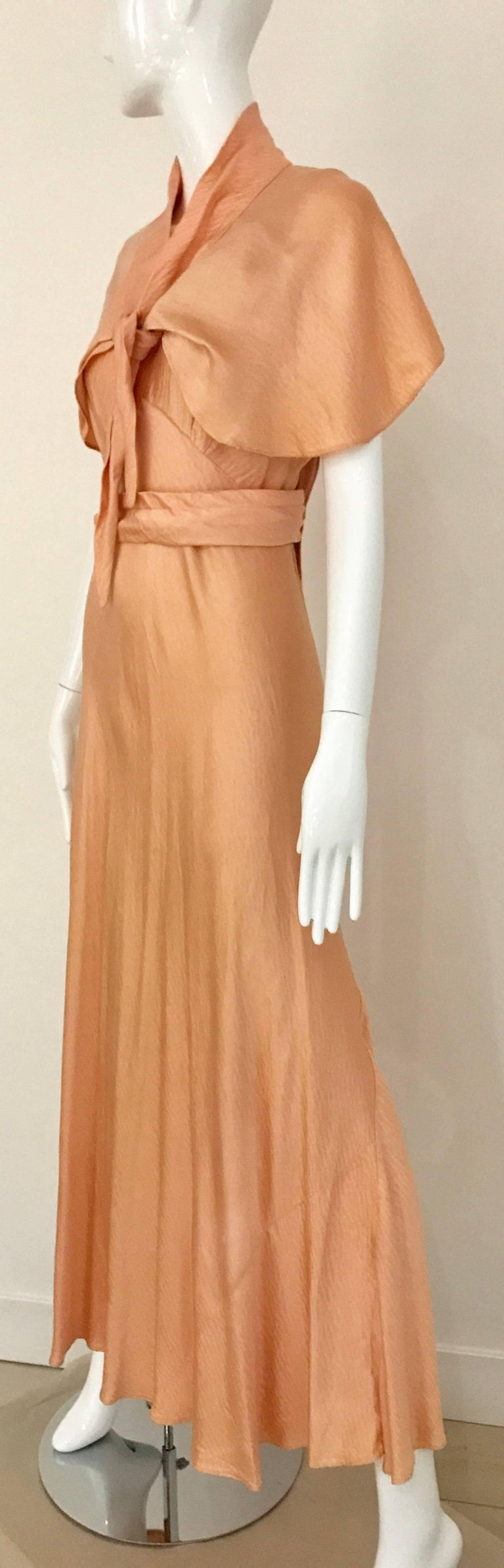 Women's 1930s Peach Silk Bias Cut Dress with Shawl Capelet  For Sale