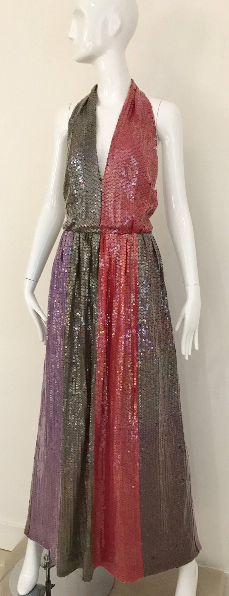 1970s BILL BLASS Red Purple and Brown Sequin V Neck Halter 70s Gown 2