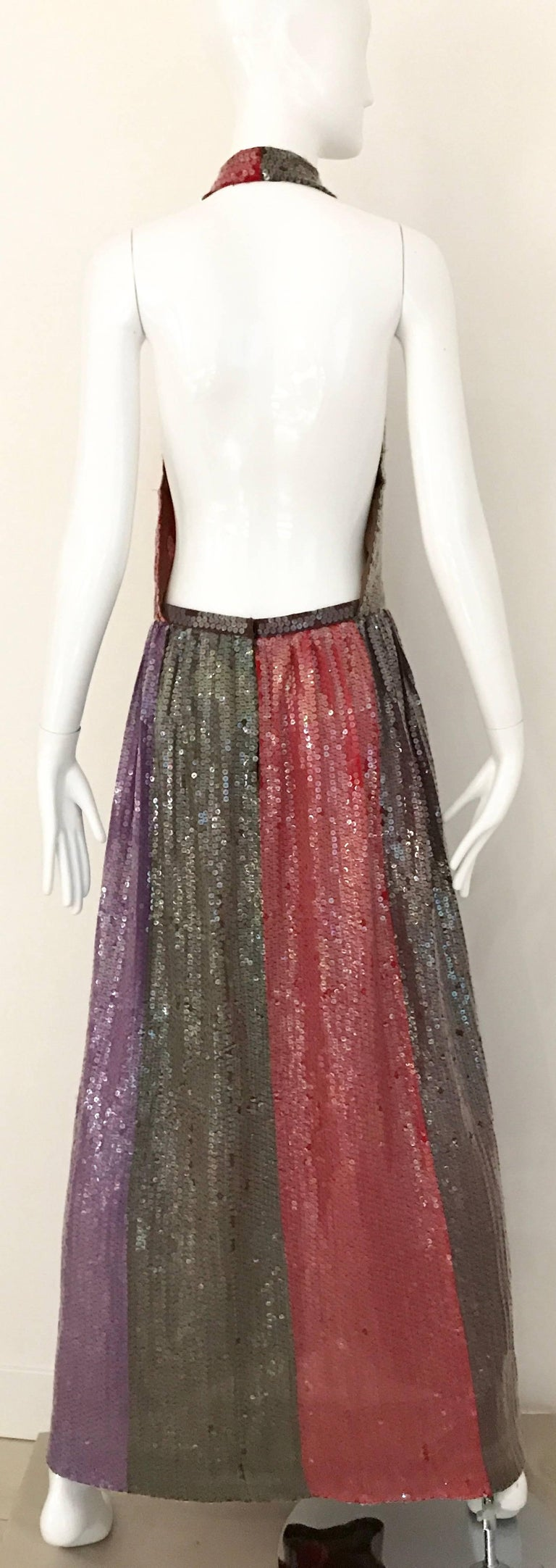 1970s BILL BLASS Red Purple and Brown Sequin V Neck Halter 70s Gown 3