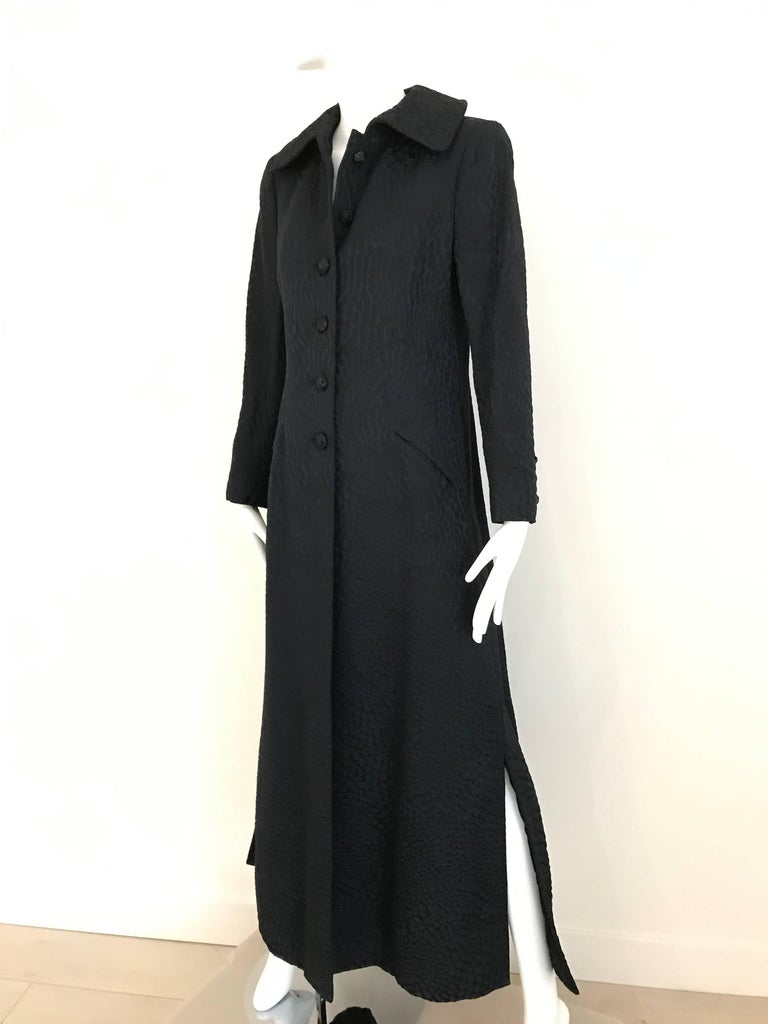 Women's 1960s Black Cotton Jacquard Fitted Long Coat, 60s For Sale