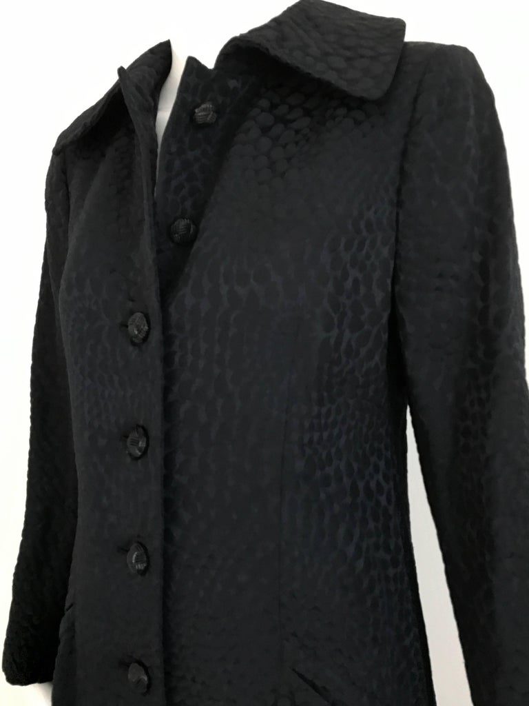 1960s Black Cotton Jacquard Fitted Long Coat, 60s For Sale 1