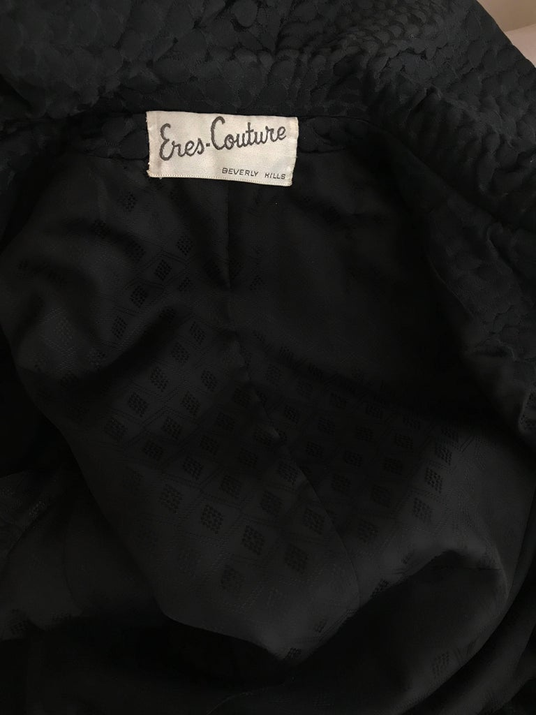 1960s Black Cotton Jacquard Fitted Long Coat, 60s For Sale 2