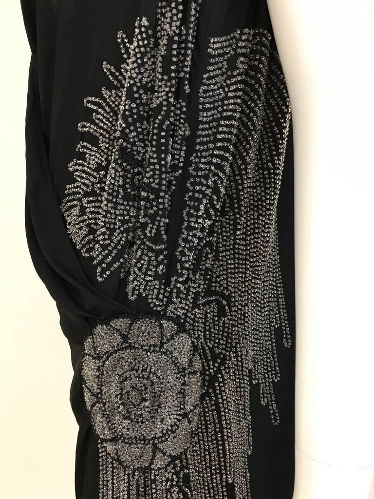 1920s Black Silk Beaded Flapper Dress Large size In Good Condition For Sale In Beverly Hills, CA
