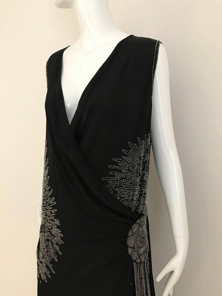 1920s Black Silk Beaded Flapper Dress Large size For Sale 1