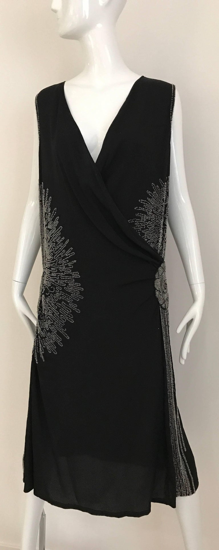 Women's 1920s Black Silk Beaded Flapper Dress Large size For Sale