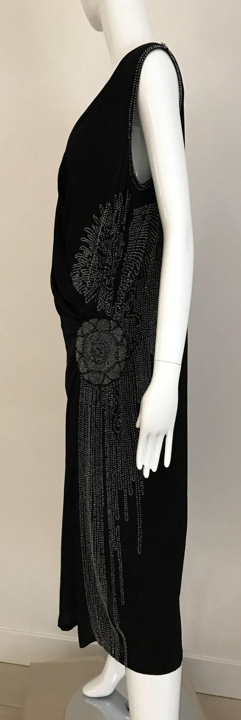 1920s Black Silk Beaded Flapper Dress Large size For Sale 2