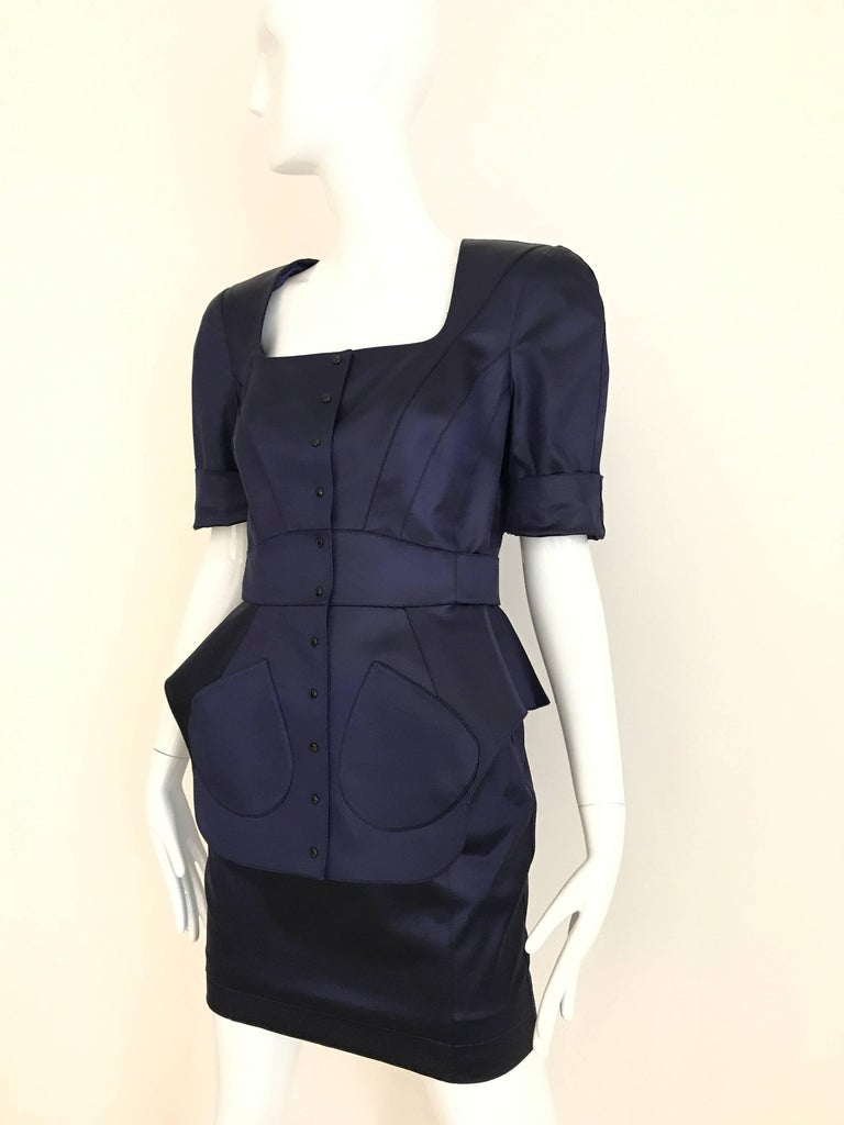 1980s THIERRY MUGLER Blue Satin Fitted Jacket and Skirt ensemble  2