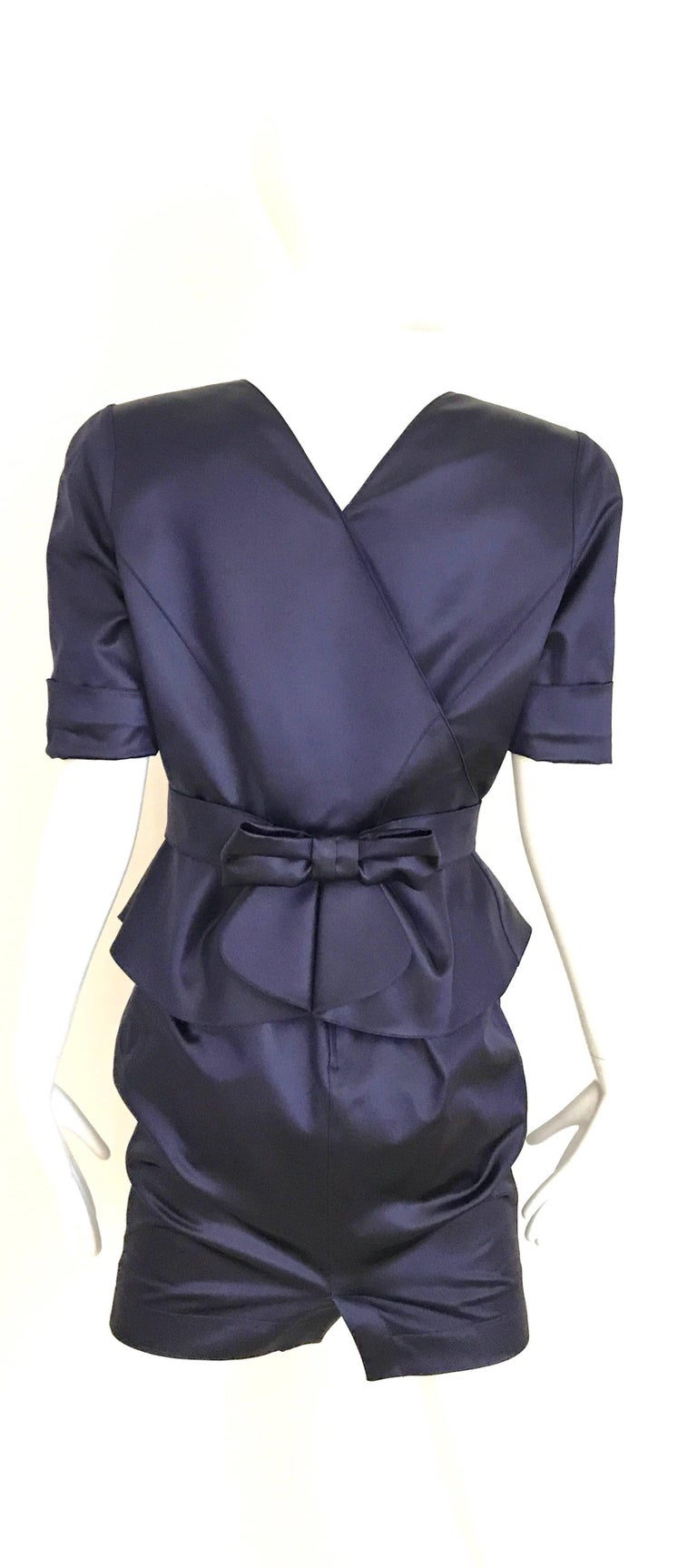 1980s THIERRY MUGLER Blue Satin Fitted Jacket and Skirt ensemble  3