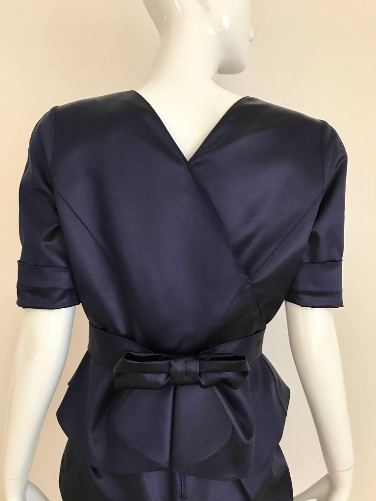 1980s THIERRY MUGLER Blue Satin Fitted Jacket and Skirt ensemble  4