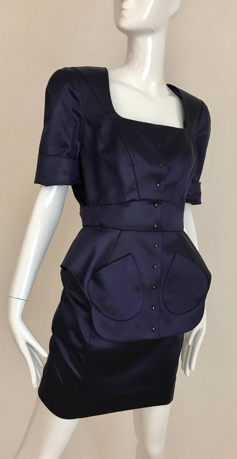 1980s THIERRY MUGLER Blue Satin Fitted Jacket and Skirt ensemble  5